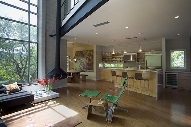 Mount Bonnell Modern industrial-living-room