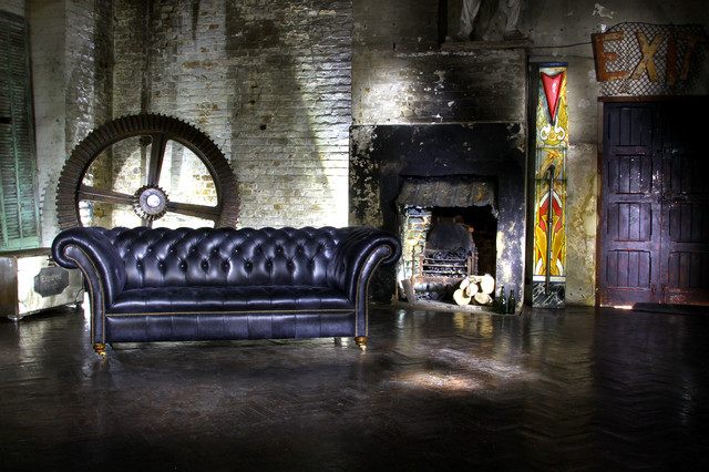 Groovy Industrial Living Room With Distressed Black Leather Caraccident5 Cool Chair Designs And Ideas Caraccident5Info
