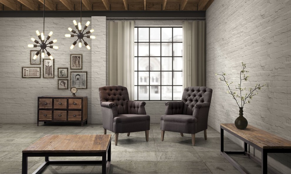 industrial loft furniture  eclectic  living room  new