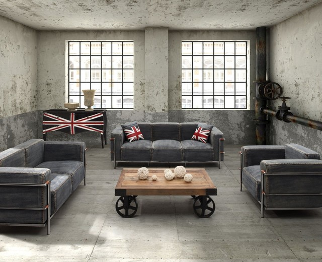 Industrial loft furniture for Industrial living room ideas