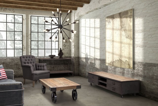 Industrial loft livingroom for Industrial living room ideas