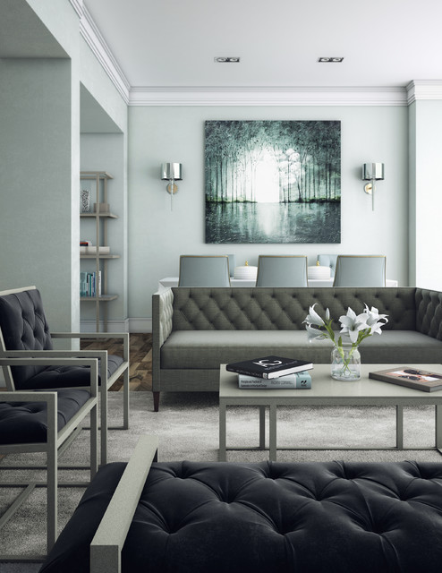 Industrial Modern Living Room - Light Blue with Gray ...