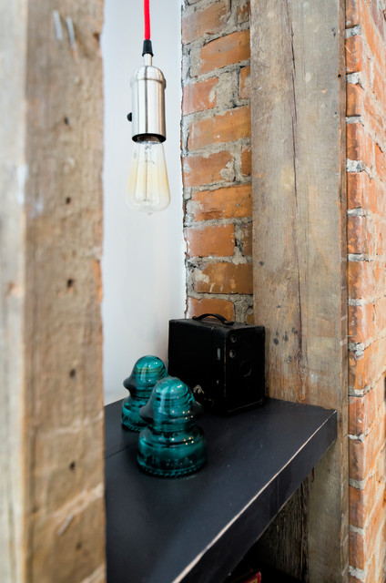 Industrial Pendant In Fireplace Shelving rustic-living-room