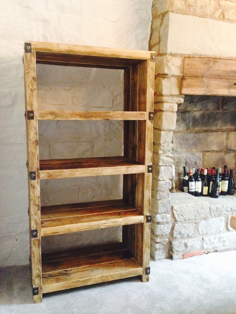 Industrial Style Reclaimed Wood And Metal Shelving Unit Living Room
