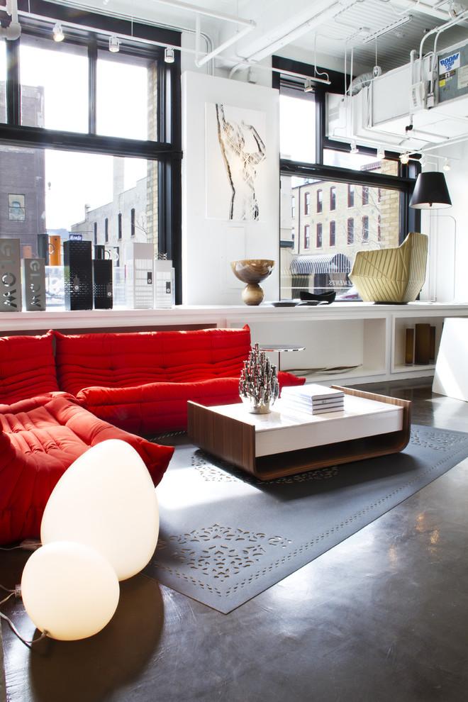 Example of a trendy concrete floor living room design in Minneapolis