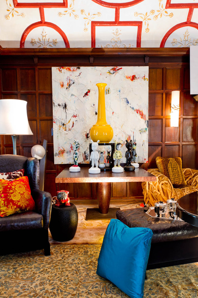 Example of an eclectic carpeted living room design in New York