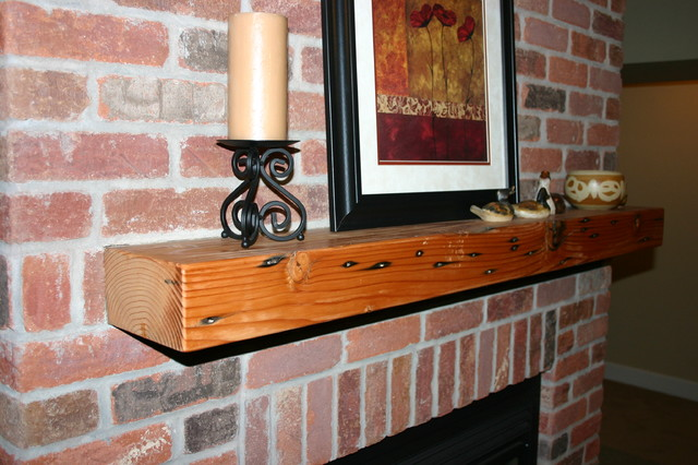 Installed reclaimed wood mantel : rustic living room from www.houzz.com size 640 x 426 jpeg 88kB