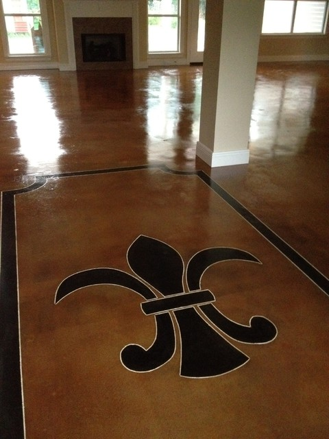 Interior Acid Stained Flooring Traditional Living Room New Orleans By Dan Lynch Concrete