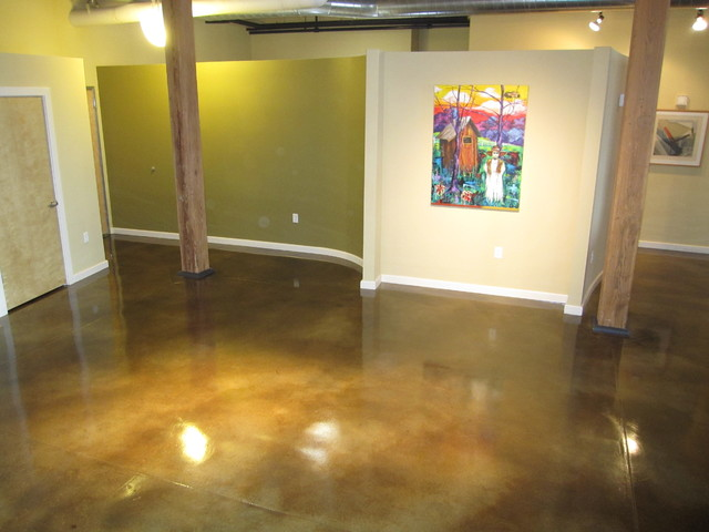 Interior Concrete Floor: Concrete Staining Modern Living Room