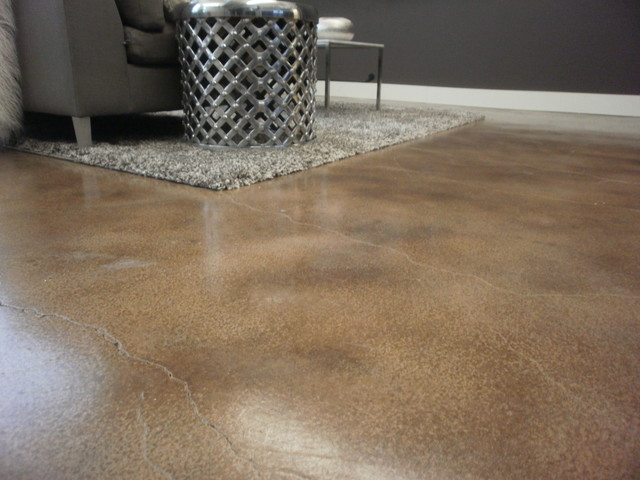 Interior floor with water based concrete stain - Interior concrete floor resurfacing ...