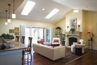 Great room with skylights.