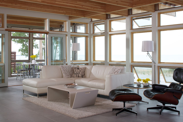 Inspiration for a mid sized contemporary formal and open concept ceramic  floor living room remodel. White Leather Couch   Houzz