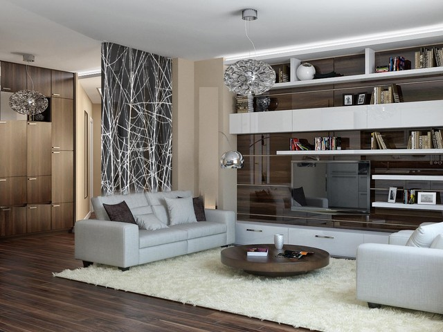 Modern Apartment Interiors With Great Glass Wall Interior Photographic Glass Walls