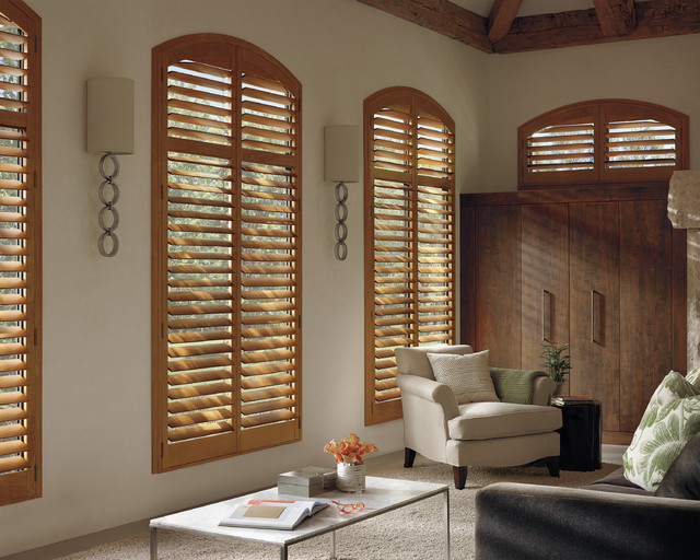 Interior Shutters Arch Top Stained Shutters Transitional Living Room Orange County By