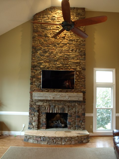 dry stack fireplace images Dry Stack Stone Veneer Fireplace - Traditional - Living Room