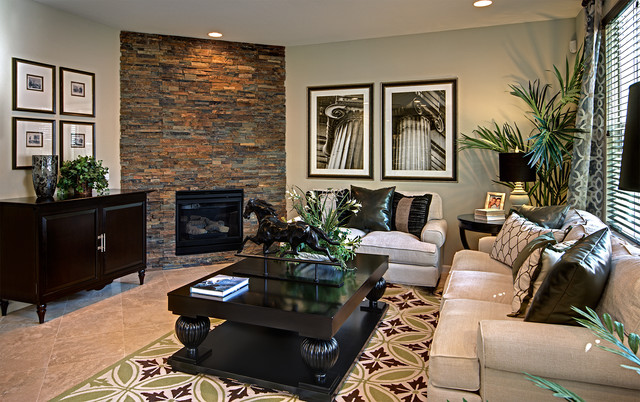 Elegant living room photo in San Francisco with a corner fireplace and a stone  fireplace