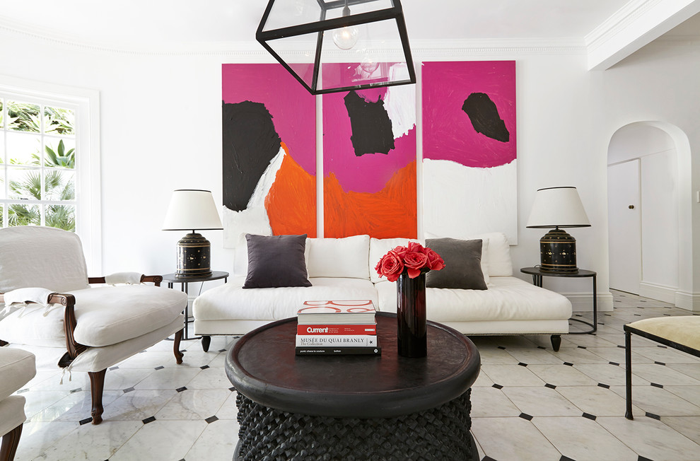 Inspiration for a contemporary formal and enclosed living room remodel in London with white walls, no fireplace and no tv