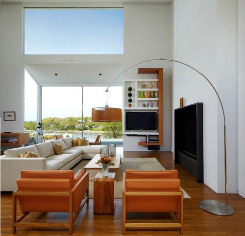télévision et salon contemporain avec canapé d'angle
