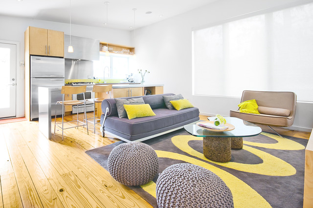 yellow and gray living room. Inspiration for a modern open concept living room remodel in Houston Gray And Yellow Living Room  Houzz