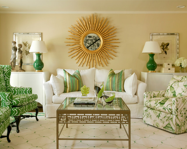 mid sized elegant formal and open concept living room photo in little rock with beige - Green And Gold Color Scheme