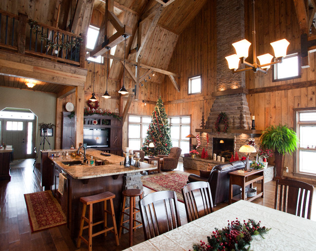 Iowa gambrel barn home traditional living room other for Gambrel barn home