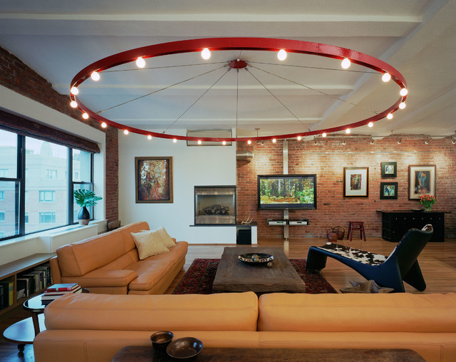 ira frazin architect industrial living room - Living Room Overhead Lighting