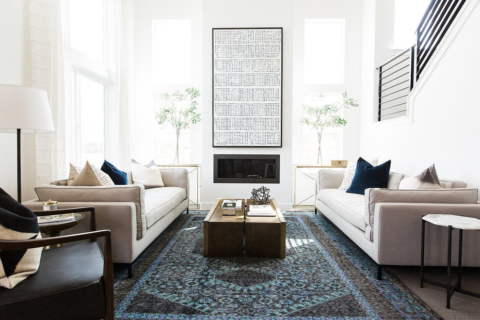 Inspiration for a transitional formal living room remodel in Salt Lake City with white walls and a ribbon fireplace