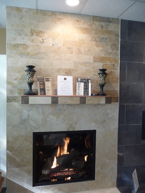 Irox Travertine Fireplace Eclectic Living Room