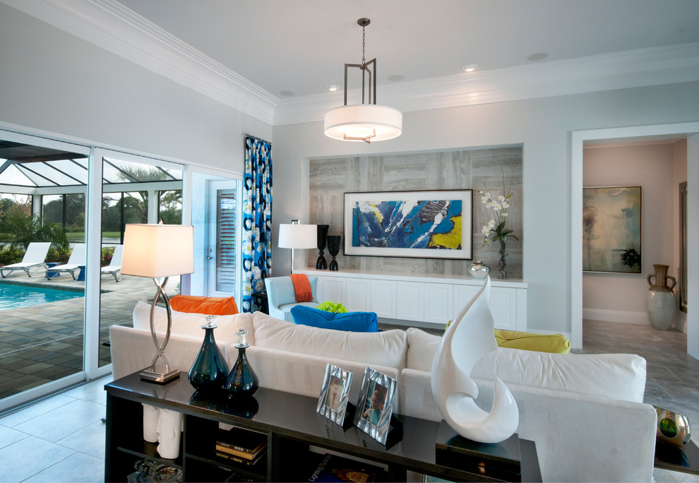Living room - contemporary living room idea in Tampa with gray walls