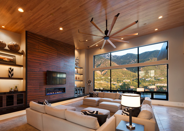 Isis ceiling fan contemporary living room salt lake Living room ceiling fan ideas