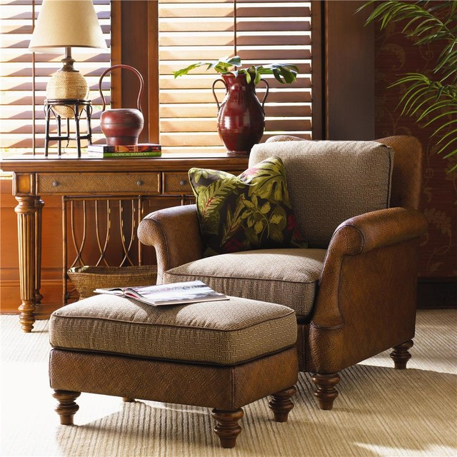 Captivating Island Estate Loose Back Hamilton Wicker Chair U0026 Ottoman Tropical Living  Room Part 7