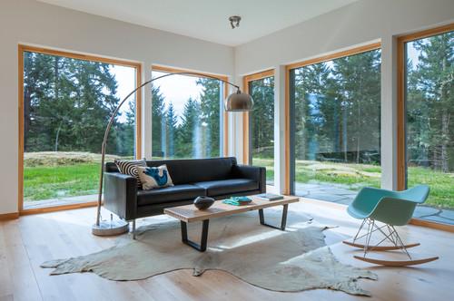 Canapé en cuir noir et salon tendance avec grandes baies vitrées