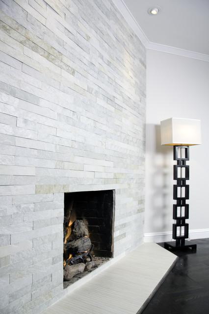 Island Stone Himachal White Strip Tile modern-living-room