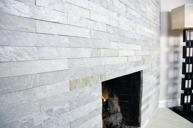 Island Stone Himachal White Strip Tile - Modern - Living ...