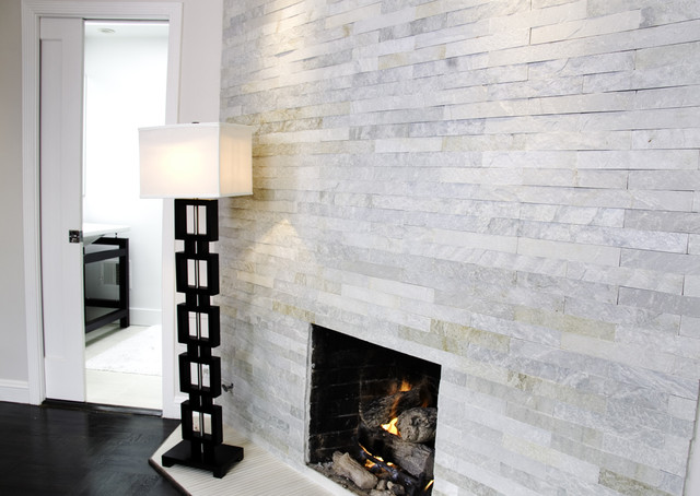 Island Stone Himachal White Strip Tile Modern Living Room