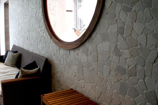 island stone random tile living room wall modern living room