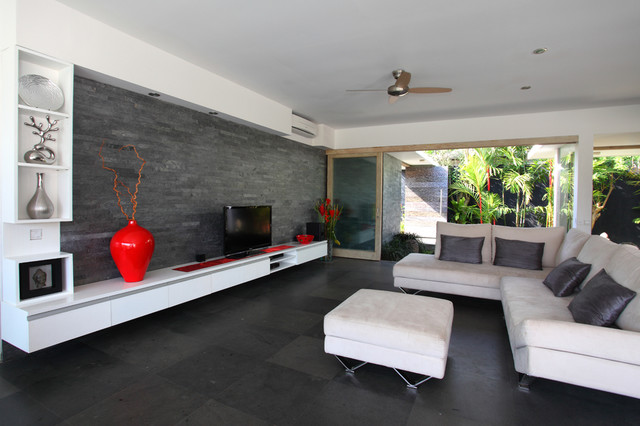 Island stone silver quartzitic slate large strip living Black tile flooring modern living room