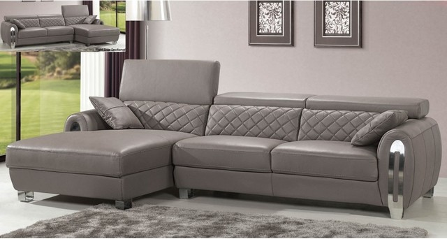 Italian Gray Leather Sectional Sofa Modern Design Modern - Gray leather sectional sofas