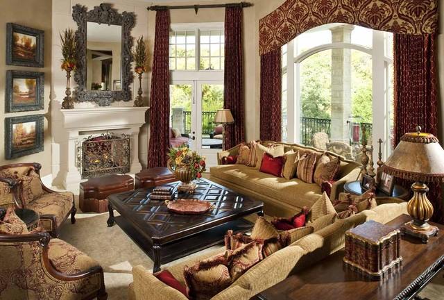 Italian-style Villa: Living Room - Mediterranean - Living ...