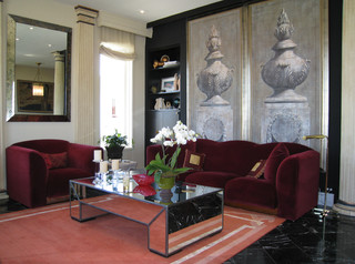 Italian Theater panels. traditional-living-room