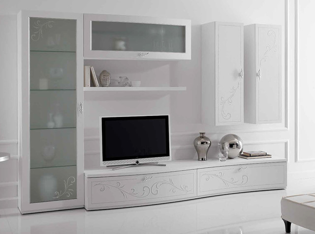 Italian Wall Unit Prestige Liberty 107 White by Spar - $6,325.00 - Contemporaneo - Soggiorno ...