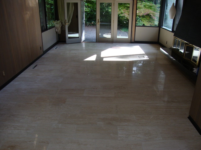 Ivoria 12x24 Vein Cut Travertine Tile Flooring Project - Traditional ...