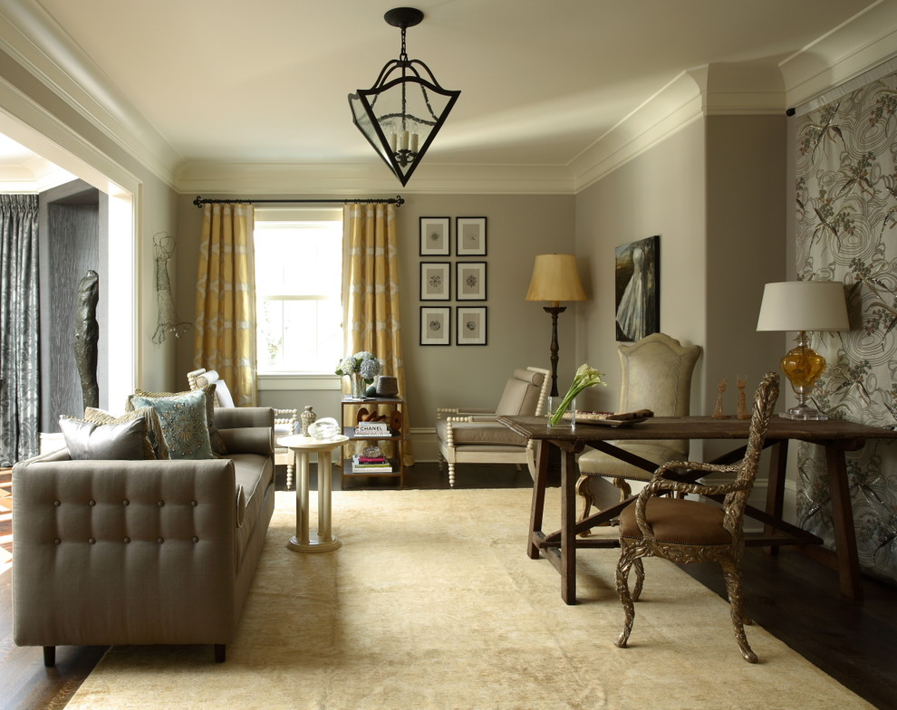 Example of a large classic living room design in Atlanta with gray walls