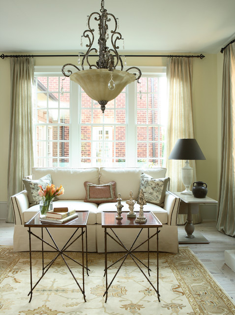 Inspiration for a timeless living room remodel in Atlanta with beige walls
