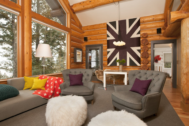 jackson hole modern log cabin grace home design contemporary living room - Home Designs Grace Collection