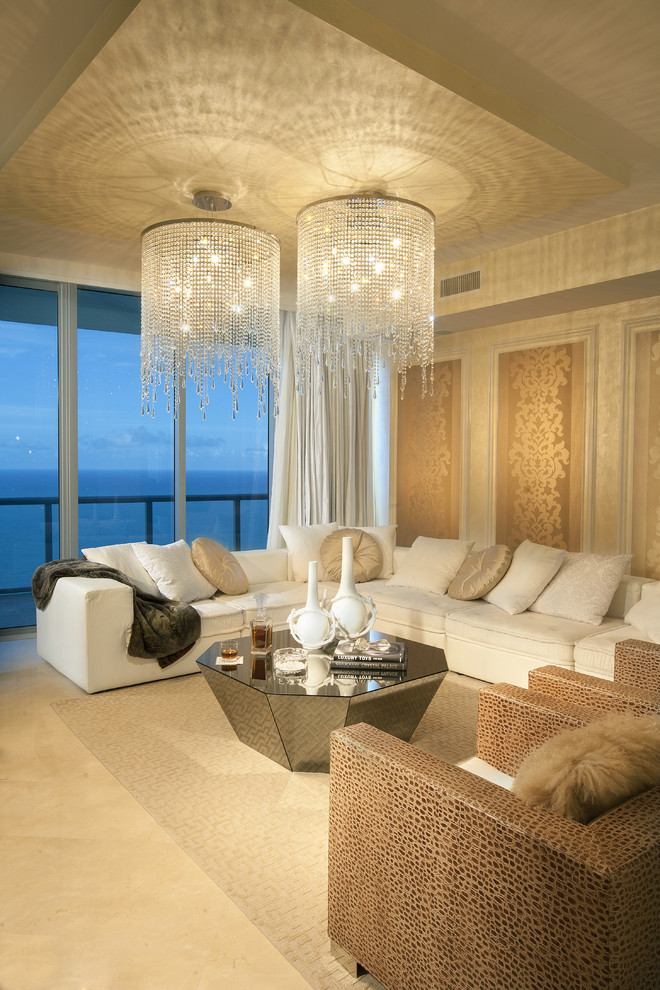 Example of a trendy living room design in Miami with beige walls