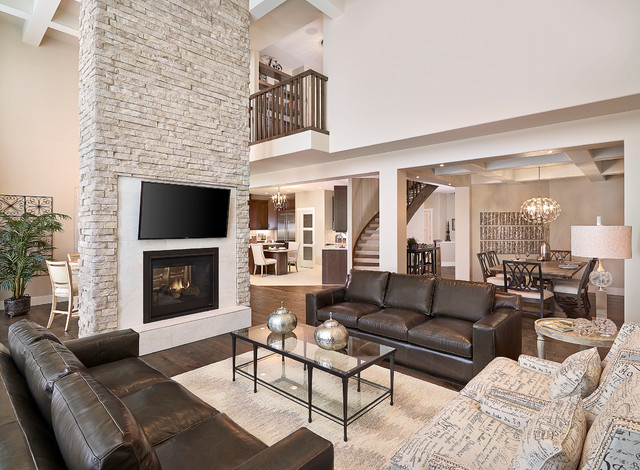 Jagare ridge buena vista showhome transitional living for Transitional living room furniture ideas