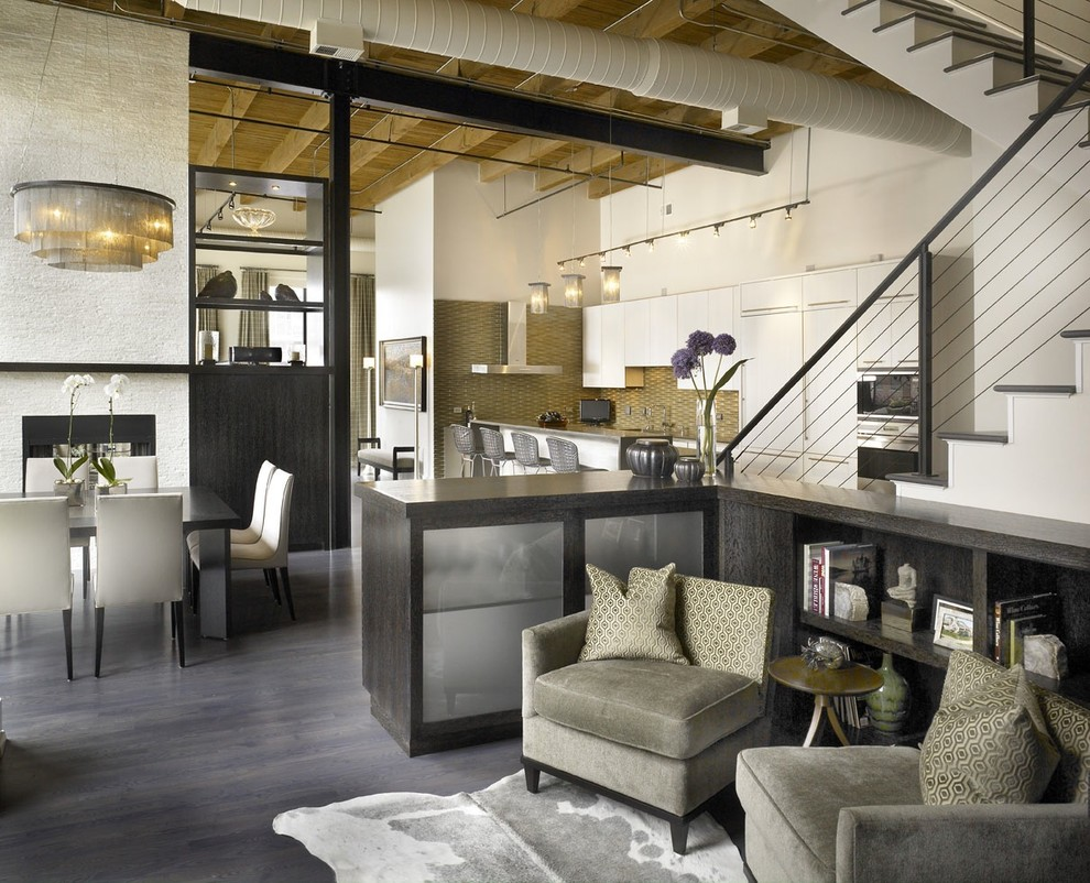 Urban open concept gray floor living room photo in Chicago with white walls