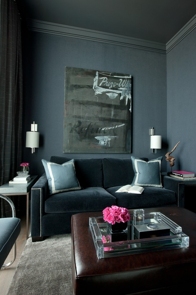 Inspiration for a transitional living room remodel in Chicago with blue walls