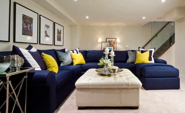 Jane lockhart basement navy sectional transitional - Used living room furniture toronto ...